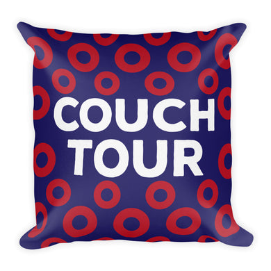 Couch Tour Pillow, Red Circle Donuts, 18x18 inches