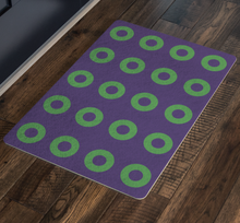 Load image into Gallery viewer, Green Donuts on Purple Doormat, Mexico 2019, Stacked Donuts, Door Mat