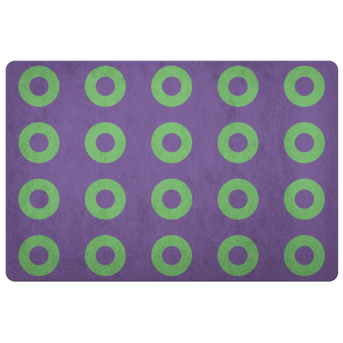 Green and Purple Donuts STACKED Summer Colors Door Mat