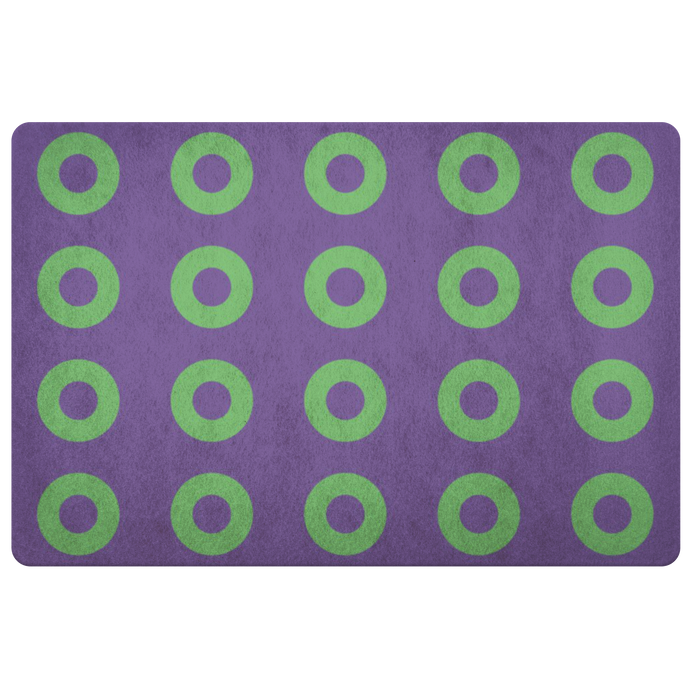 Green Donuts on Purple Doormat, Mexico 2019, Stacked Donuts, Door Mat