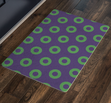 Load image into Gallery viewer, Green Donuts on Purple Doormat, Mexico 2019, Skewed Donuts, Door Mat