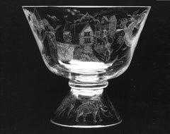 Engraved Glass bowl with a house portrait