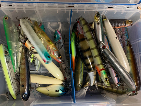 lots of topwater bass fishing lures and baits