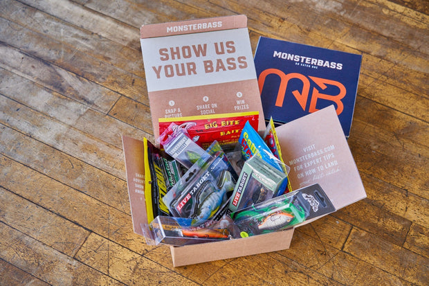 a box of the best bass fishing baits from the best subscription box called monsterbass
