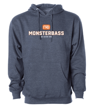 This blue MONSTERBASS hoodie will keep you warm when you are out bass fishing on a cold day.