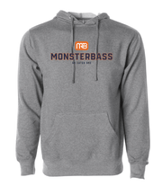 Grey MONSTERBASS hoodie will keep you warm when you are out bass fishing on a cold day.
