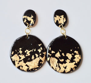 Large Speckled Drop Earrings - Black