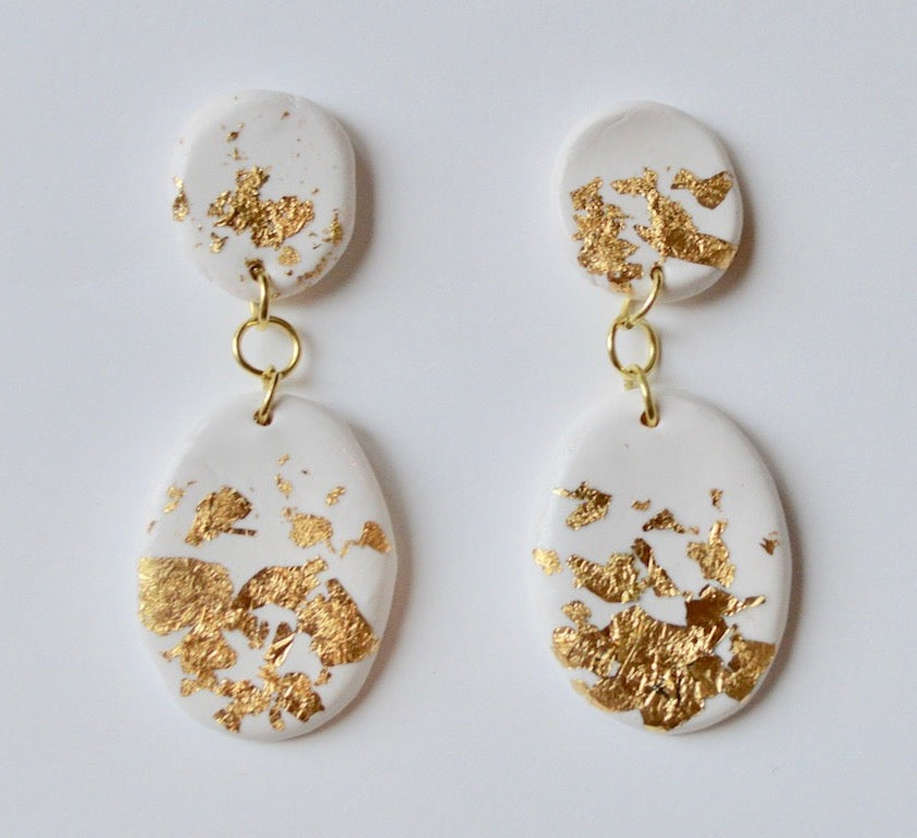 Small Speckled Drop Earrings - Ivory