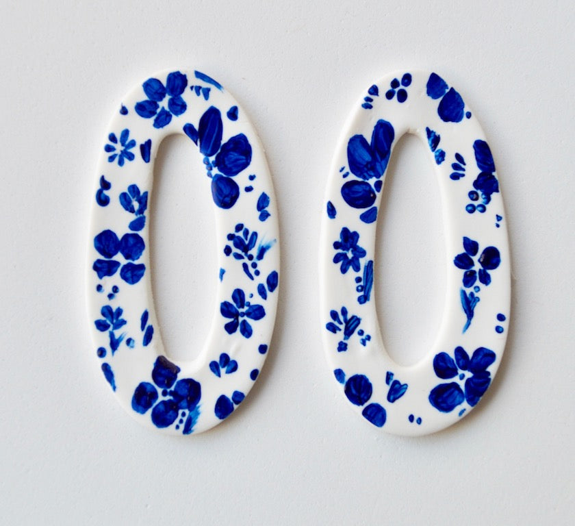 Hand Painted Large Hollow Hoop - Navy & White