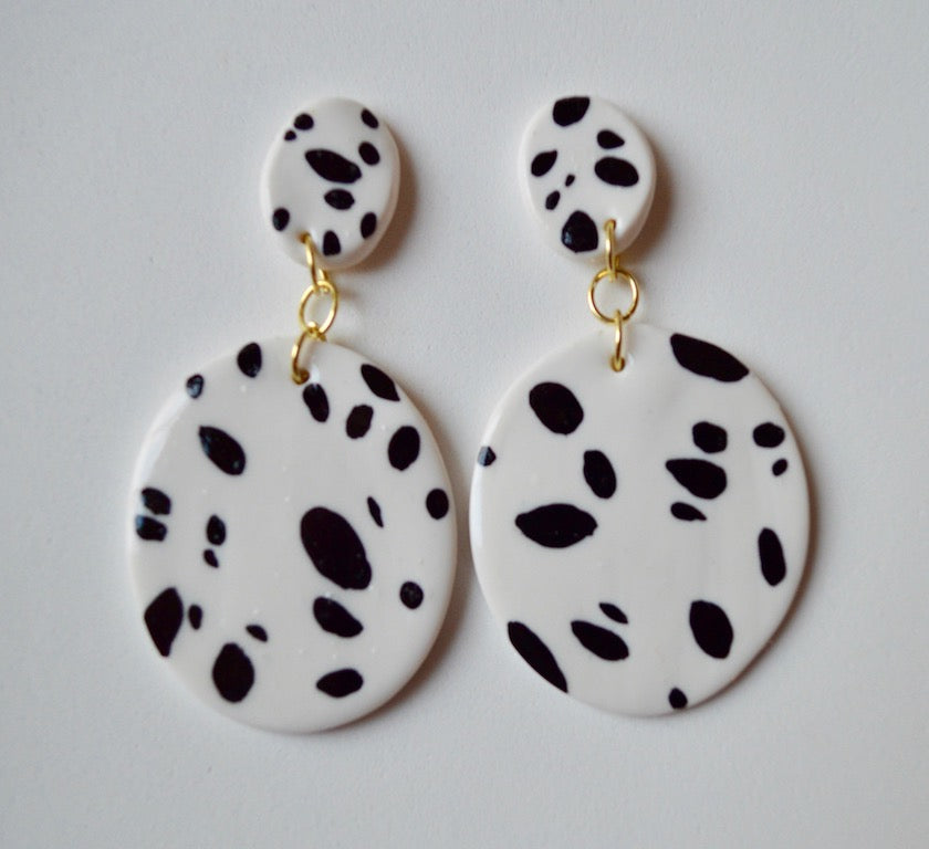 Hand Painted Dot Drop Earrings