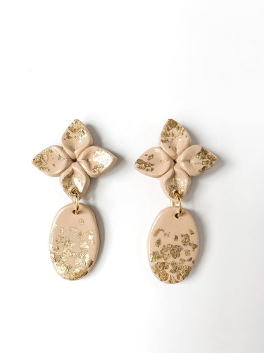 Gold Foil Flower Drop Earring