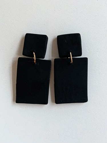 Double Square Black Earrings