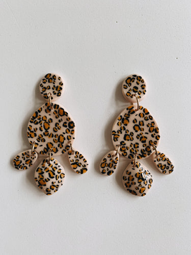 Hand Painted Leopard Statement Earrings