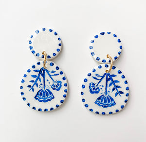 Hand Painted Blue & White Drop Earrings