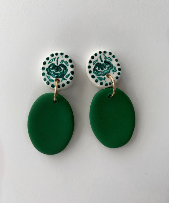 Green Hand Painted Drop Earrings