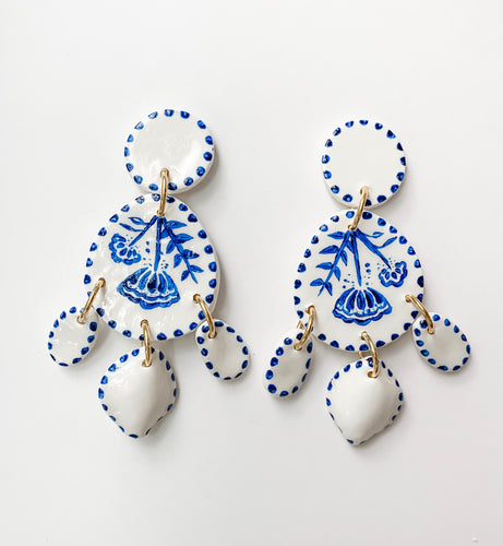 Hand Painted Blue & White Statement Earrings