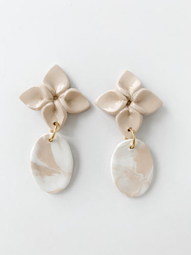 Marble Flower Drop Earring