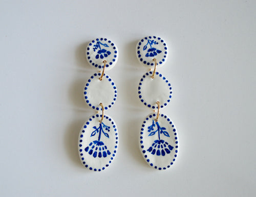 Hand Painted Blue & White Triple Drop Earrings