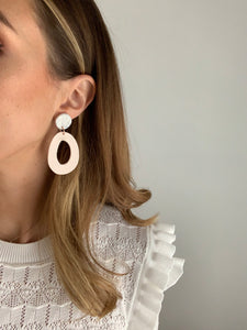 Large Hollow Drop Earrings - Light Blush