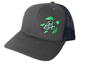 grey trucker hat with turtle design