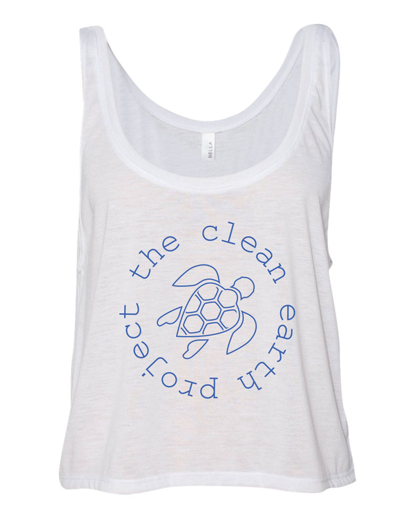 white tank top with blue turtle logo