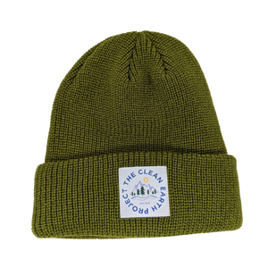 green winter beanie