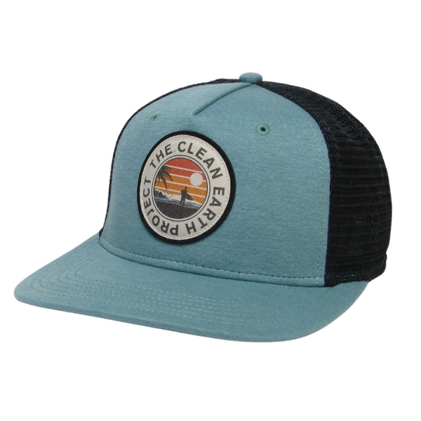 seafoam green surfer trucker hat