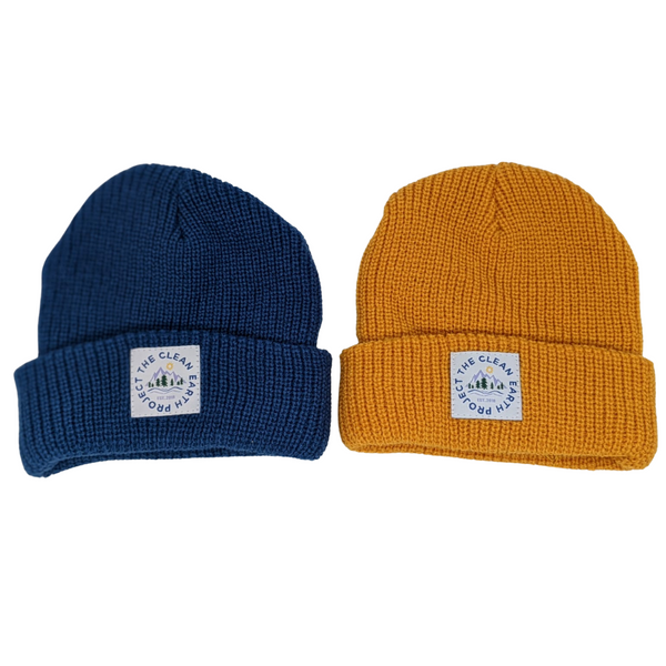 blue and gold kids winter beanie
