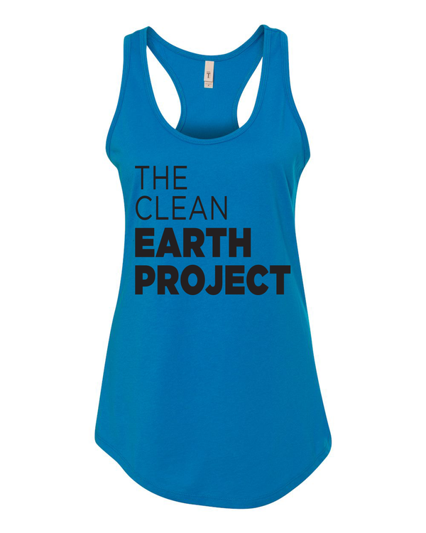 turquoise tank top with the clean earth project logo on front
