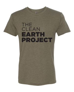 army green tshirt with the clean earth project logo on front