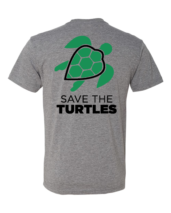 grey t shirt with brand turtle logo on back