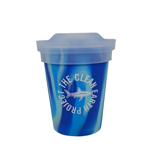 8oz reusable pint blue shark design