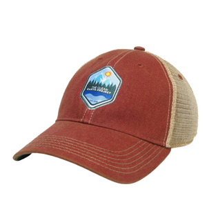 red vintage trucker hat with the clean earth project logo