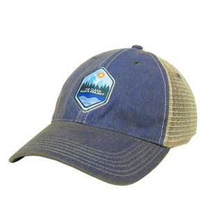blue vintage hat with the clean earth project logo