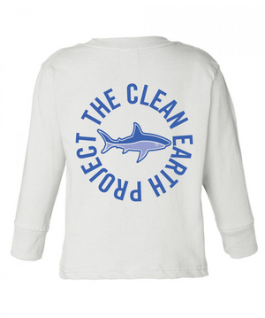 white long sleeve shark shirt with logo on back