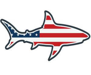 the clean earth project american flag shark sticker