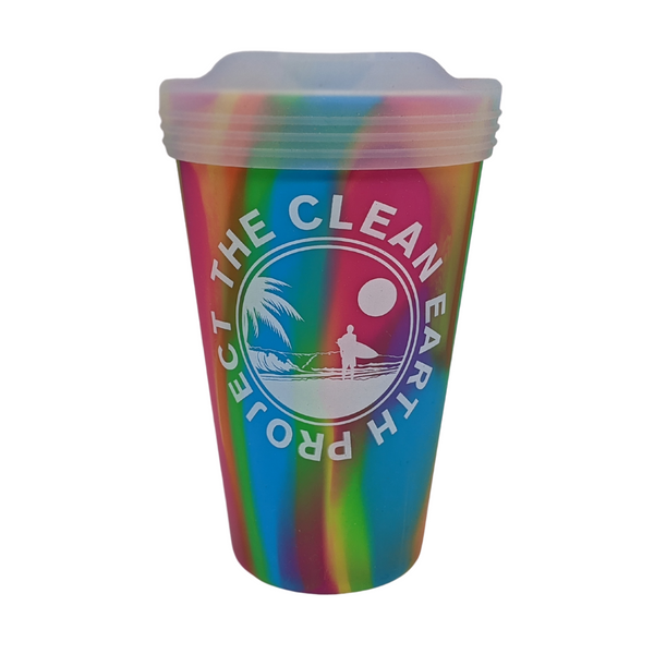 16oz pink multi color reusable cup surfer design