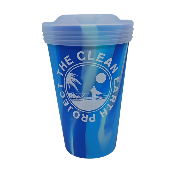 16oz blue reusable cup surfer design
