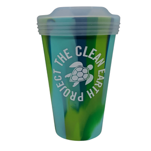16oz green reusable cup with turtle logo