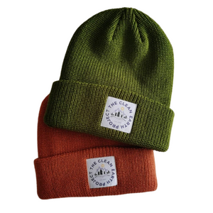 green and red winter beanies