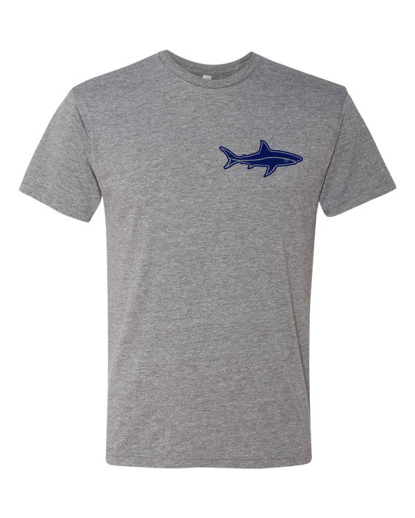 grey t shirt with shark logo on front