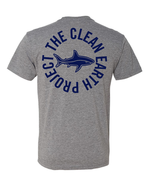 grey t shirt with brand shark logo on back