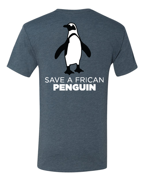 indigo blue save a frican penguin shirt with logo on back