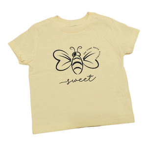 yellow shirt for toddlers with bee sweet logo