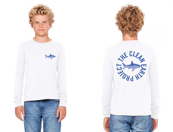 white long sleeve shark shirt for kids