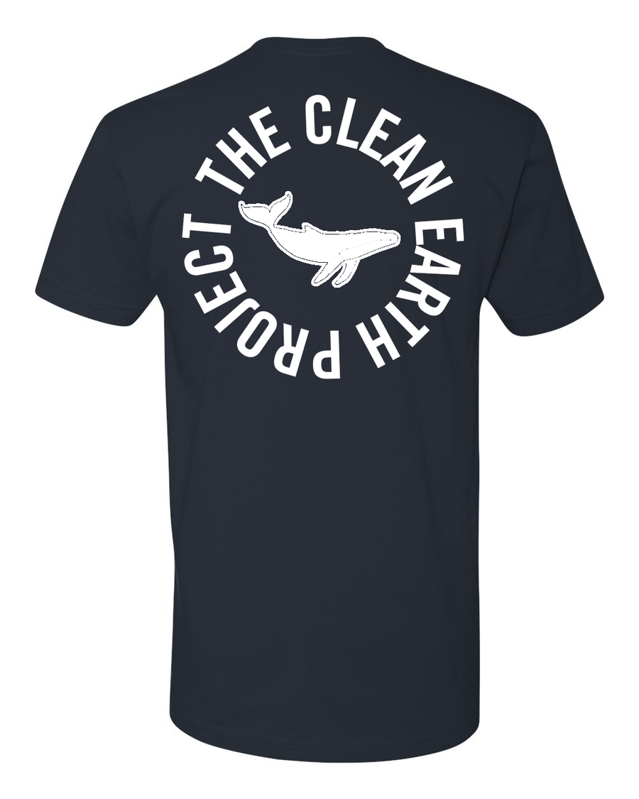 indigo tshirt with white whale on front