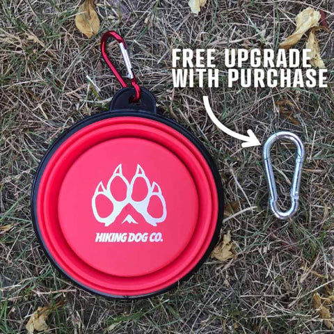 collapsible travel dog water dish with free upgraded carabiner clip