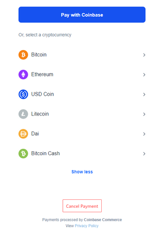 Choose from Bitcoin, Ethereum, Litecoin, or others to shop online at HikingDogCo.com.