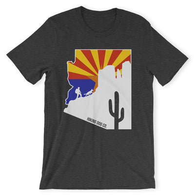 Heather Grey Arizona State Flag Hiking Shirt | Hiking Dog Co.