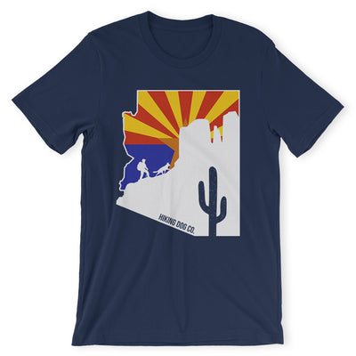 Navy Arizona State Flag Hiking Shirt | Hiking Dog Co.